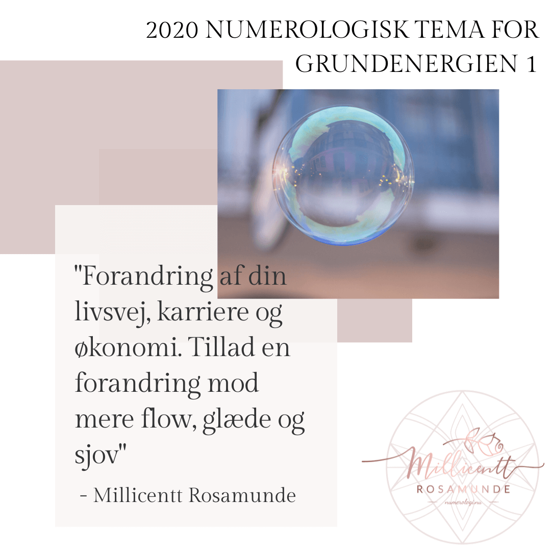 2020 - Numerologisk Tema for Grundenergien 1 - Millicentt Rosamunde