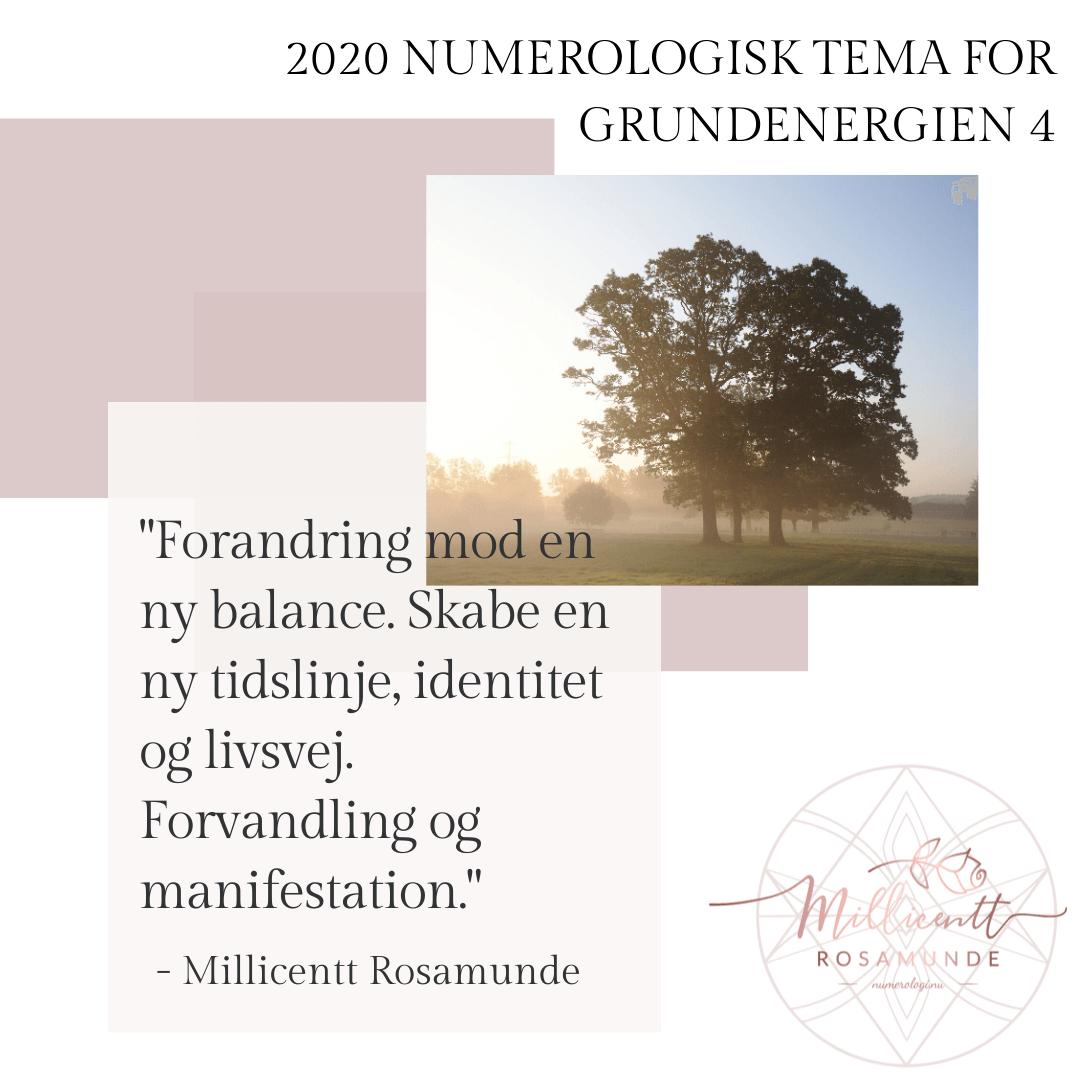 2020 - Numerologisk Tema for Grundenergien 4 - Millicentt Rosamunde