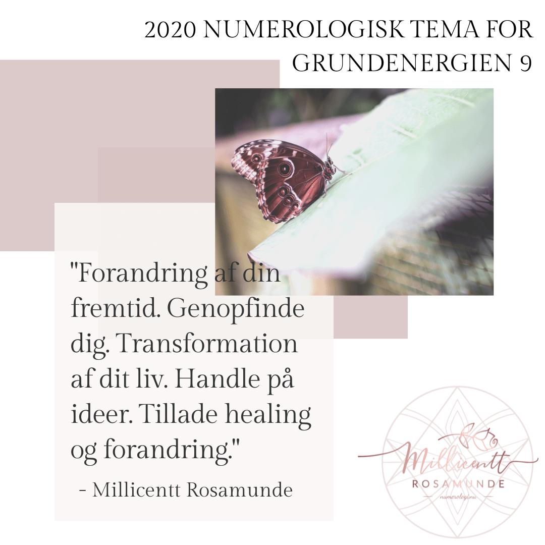 2020 - Numerologisk Tema for Grundenergien 9 - Millicentt Rosamunde