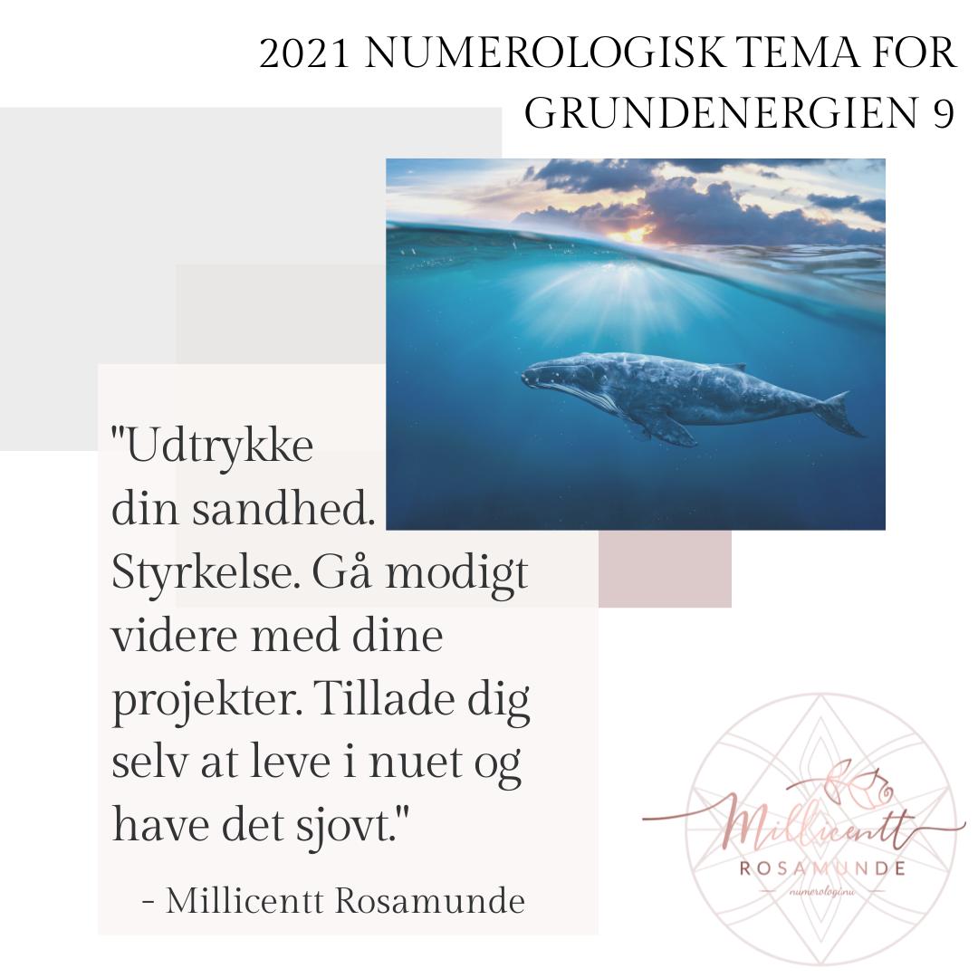 2021 - Numerologisk Tema for Grundenergien 9 - Millicentt Rosamunde